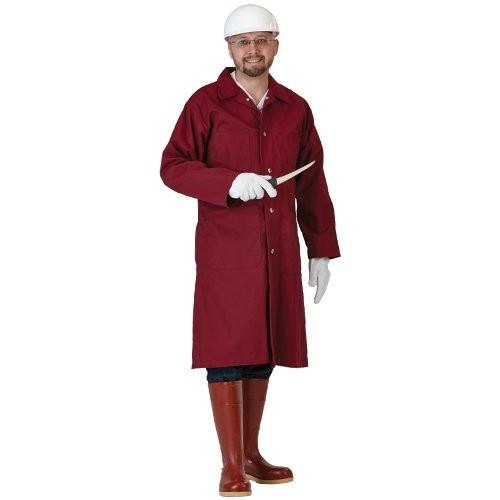 Burgundy 7-oz. Snap-Front Poly/Cotton Butcher Frock
