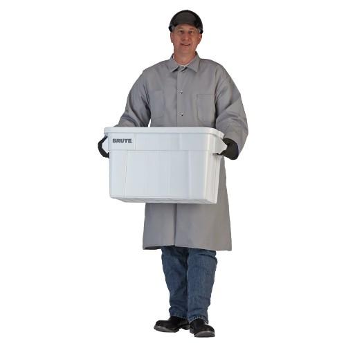 Medium Grey 7-oz. Snap-Front Poly/Cotton Butcher Frock