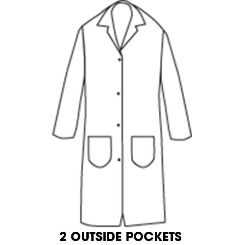 7-oz. Snap-Front Butcher Frock with 2 outside pockets.