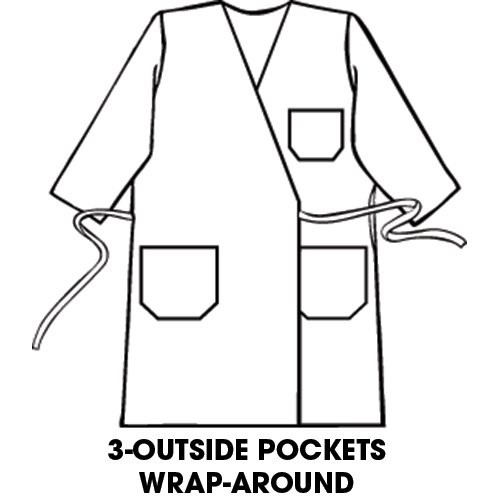 3 outside pockets wrap-around style.