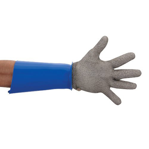 Arm Guards are end turned to fit securely under metal mesh gloves.
