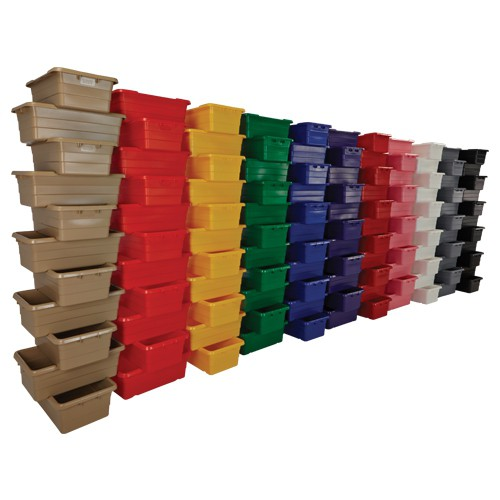 ToteAll 2000 Molded Poly Totes are available in 11 food-approved colors.