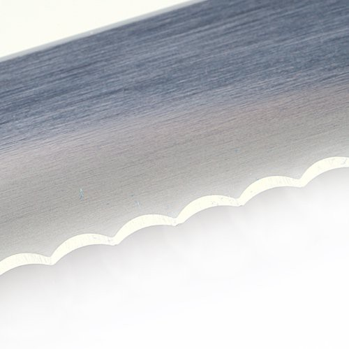 Close up of wavy edge blade on Victorinox Bread Knife.