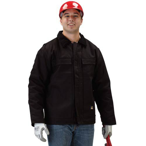 Insulated black chore coat is made of 100% cotton duck.