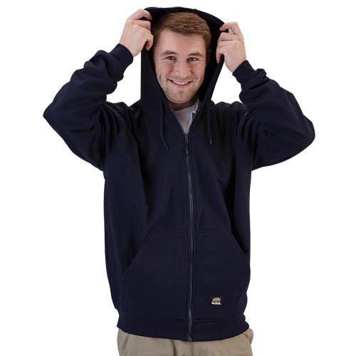 Double-layered three-piece hood with drawstring closure.