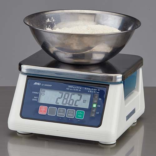 Washdown Compact Scale weighing flour.