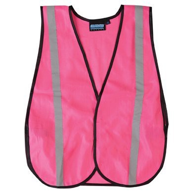 Pink Safety Vest is solid with silver reflective stripes.