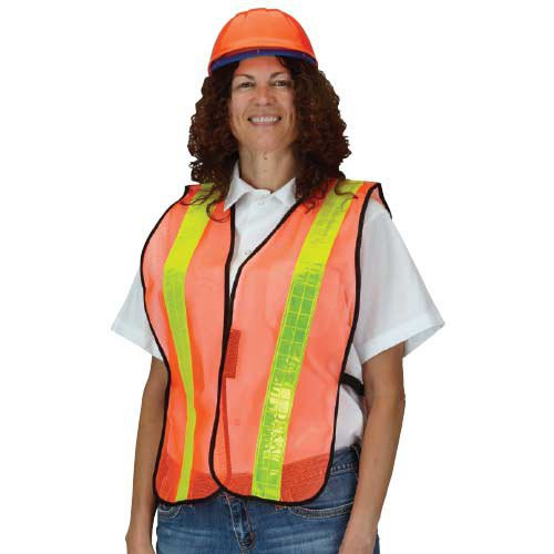 Orange, Mesh Safety Vest with yellow reflective stripes.