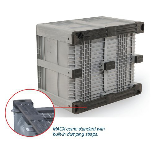 MACX bins come standard with built-in dumping straps.