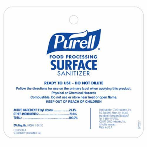 """Purell Surface Sanitizer Secondary Container Hang Tag, 4"""" x 3.75"""""""