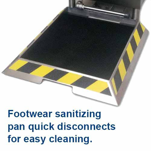 "Footwear Sanitizing Pans have 1/4"" to 1/2"" depth available."