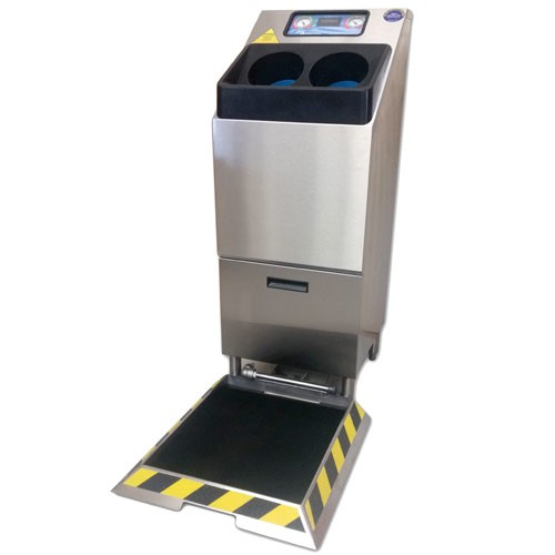 Single-Bay, Free-Standing CleanTech 2000S Automated Handwashing Station with Footwear Sanitizing Pan
