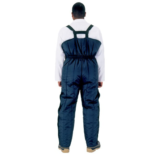 High-back bib overalls have elasticized waist to provide extra warmth and protection.