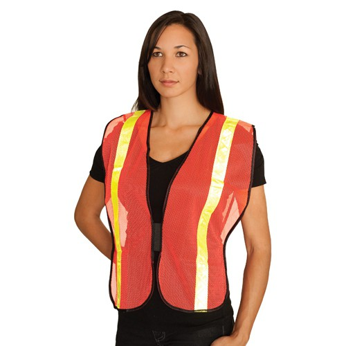Orange, High Visibility Mesh Vest with Reflective Stripes