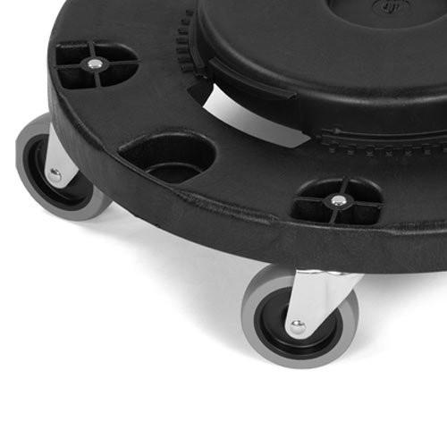 Simple twist-to-lock feature securely fastens dolly to container base.