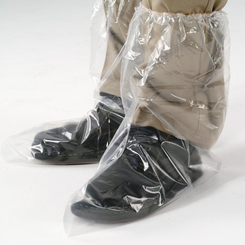 Disposable poly shoe covers feature an elastic top.