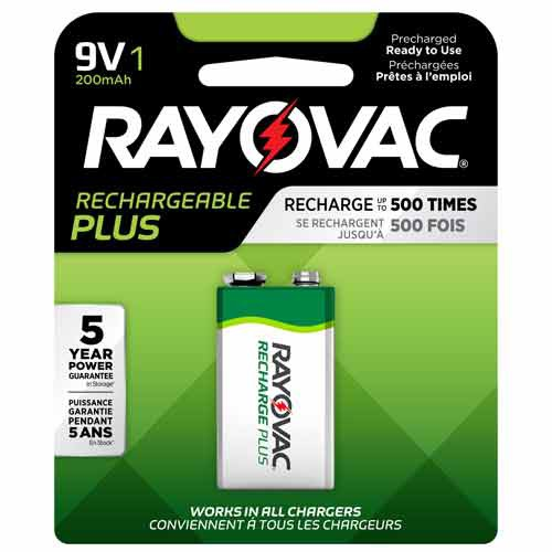 9 Volt Rayovac Rechargeable Plus Battery Package