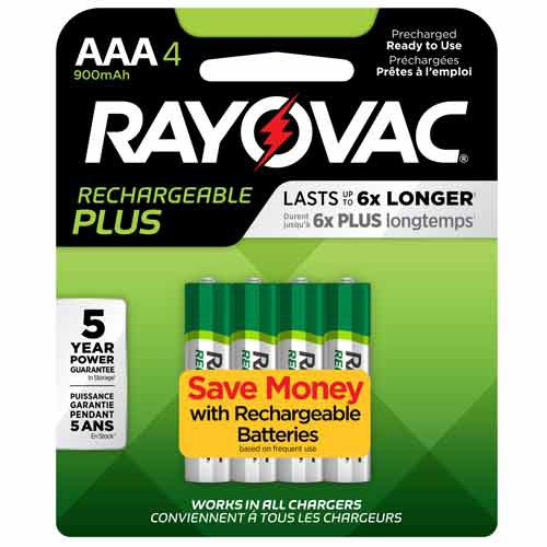 AAA Size Rayovac Rechargeable Plus Battery Package