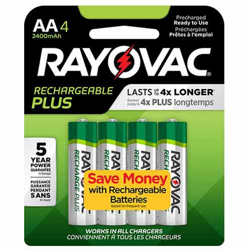 AA Size Rayovac Rechargeable Plus Battery Package