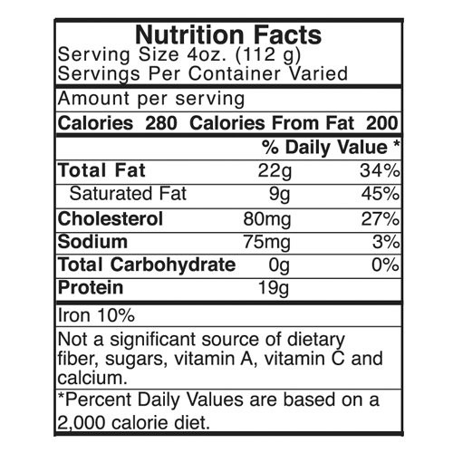 80/20 Nutrition Label is available on custom ground beef bags at no additional cost.