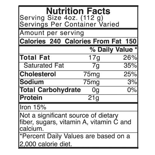 85/15 Nutrition Label is available on custom ground beef bags at no additional cost.