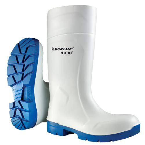 White with Blue Sole Dunlop Purofort 14 Inch FoodPro Boots