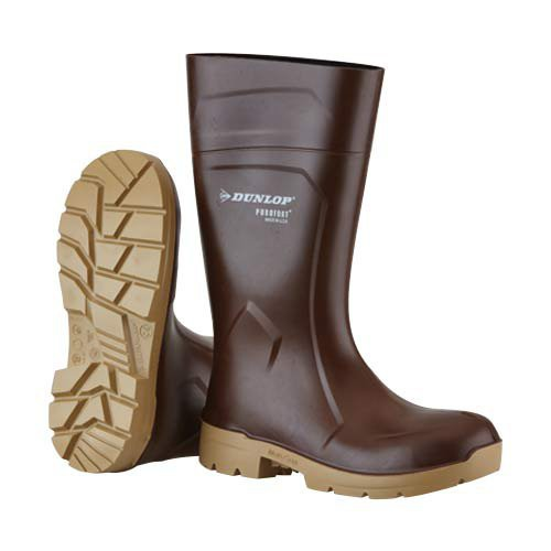 Brown with Tan Sole Dunlop Purofort 14 Inch FoodPro Boots