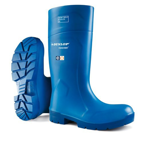 Blue with Blue Sole Dunlop Purofort 14 Inch FoodPro Boots
