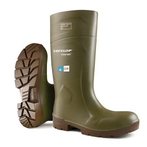 Green with Brown Sole Dunlop Purofort 14 Inch FoodPro Boots