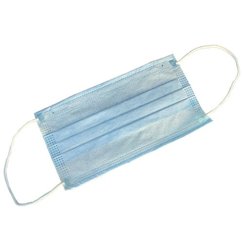 Disposable 3-ply face mask with pleats, resistant to fluids and dust.
