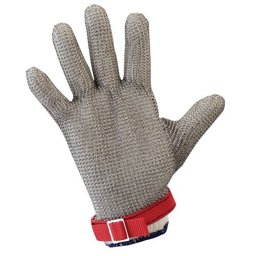 Wrist-length metal mesh glove with permanently attached straps.