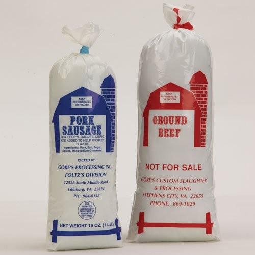 Custom Printed Meat Bags in Barn Design.