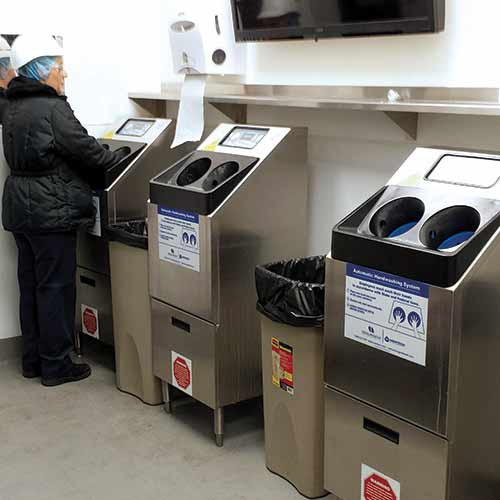 CleanTech 2000S Automated Handwashing Station set up with social distancing.