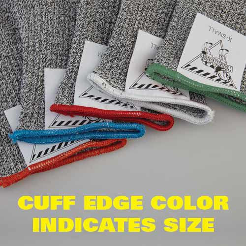 Workhorse glove sizes are indicated by the cuff color edge. This allows for quick identification.