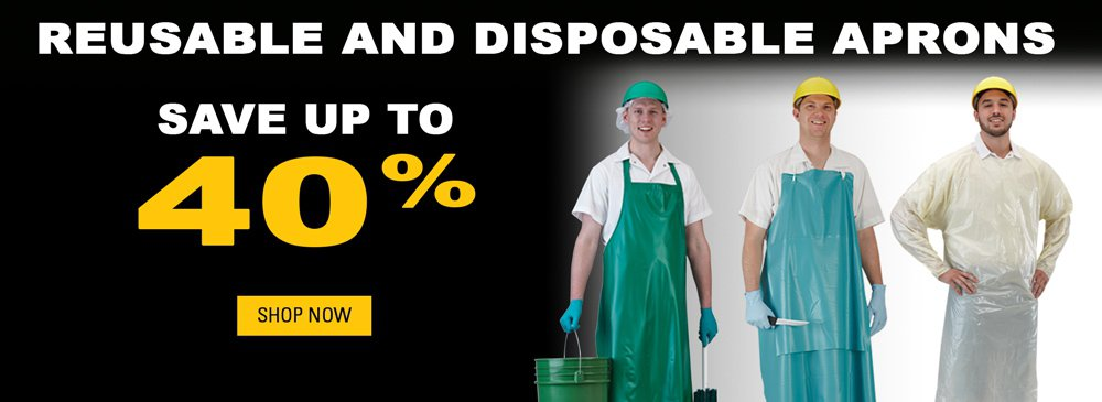 Save on Reusable and Disposable Aprons