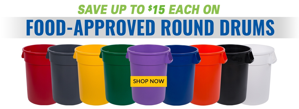 Save up to $15 each on Bronco Food-Approved Round Drums
